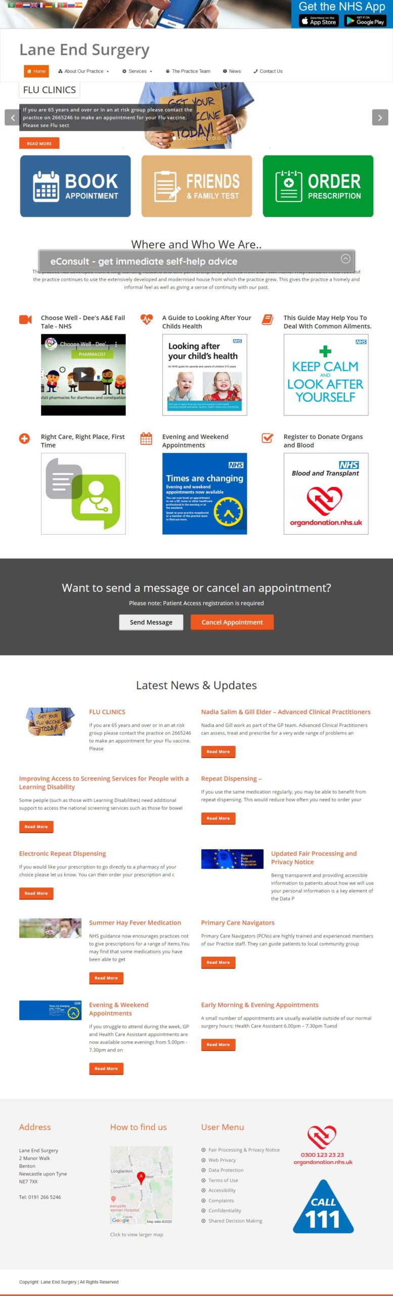 Lane End Surgery website